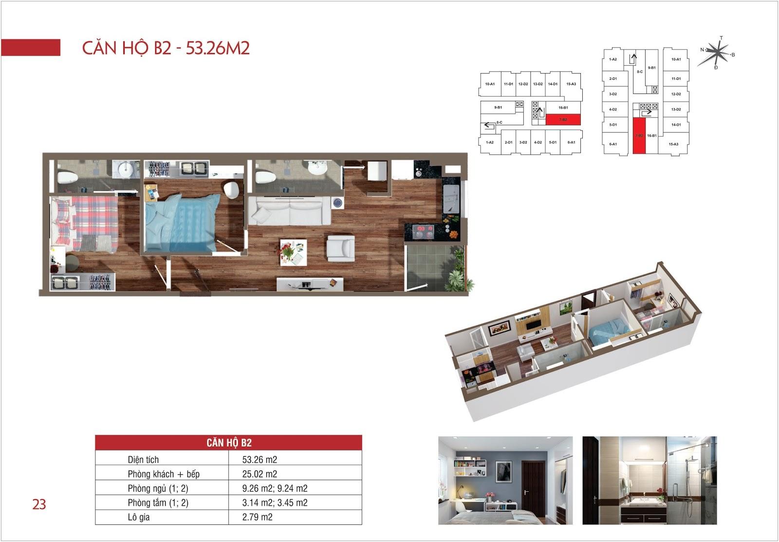 Căn hộ B2 - 53,26m2 chung cư Lộc Ninh Singashine