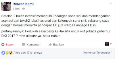 Perlukah Ridwan Kamil Pergi Ke Jakarta Untuk Ikut Pilkada Gubernur DKI Jakarta?