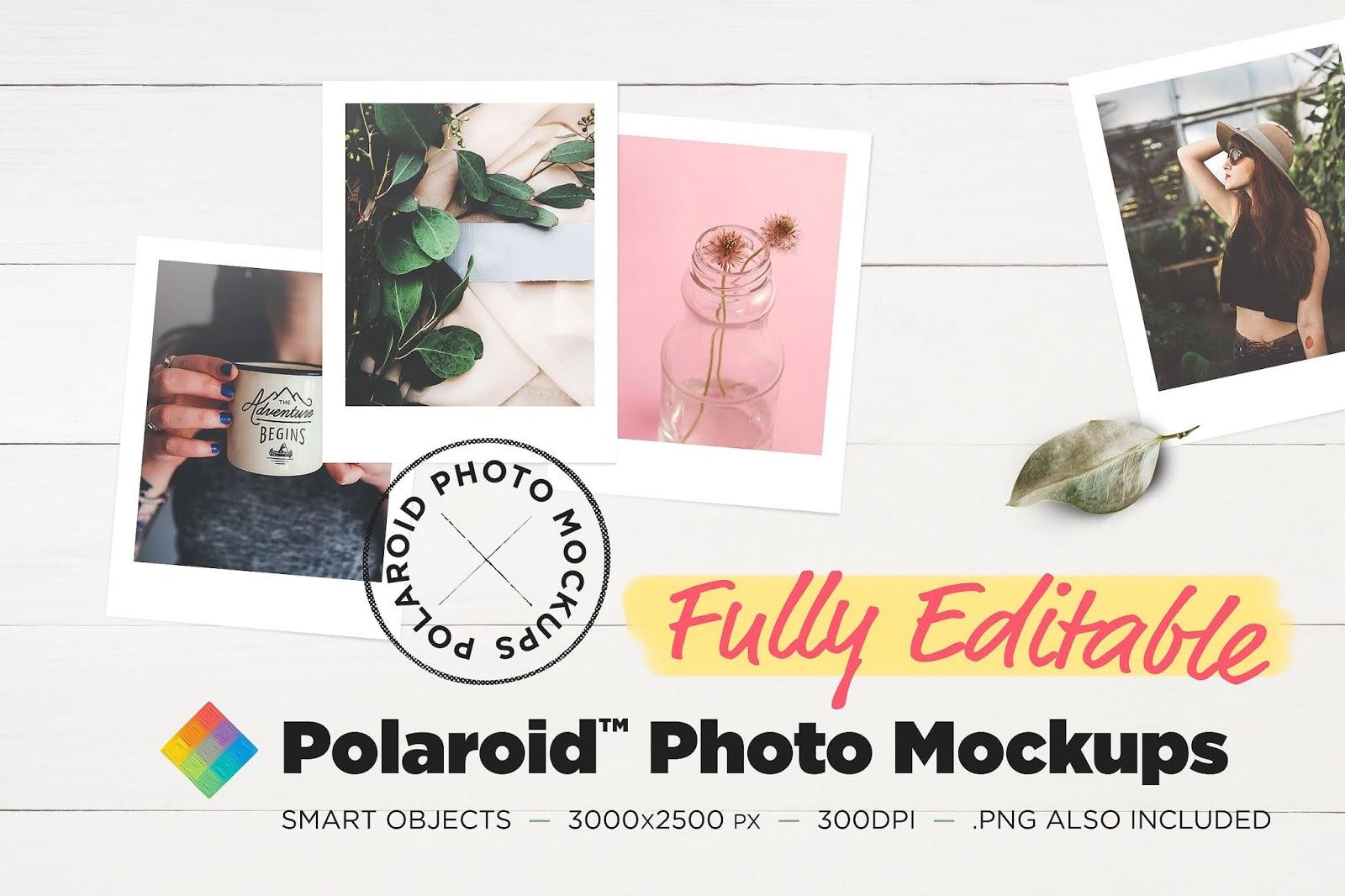 Editable Polaroid Photo Mockups