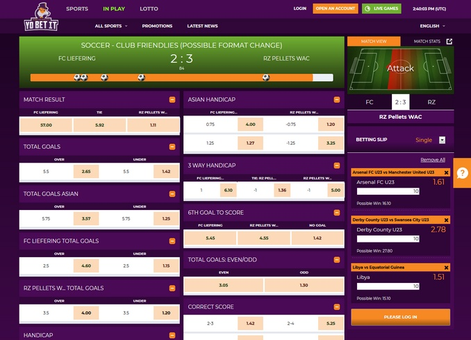 Yobetit Live Betting Screen