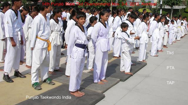 Martial Arts Taekwondo 'Korean Karate' Training Classes in Mohali near Chandigarh Punjab India a Group photo before the commencement of 14th Punjab State Tkd championship 2012, Amritsar under the supervision of Master Er Satpal singh Rehal, Garhshankar, Kot Maira, Hoshiarpur, Jalandhar, Patiala, Ludhiana, Moga, Ferozepur, Faridkot, Mohali near Chandigarh, India, Tkd Academy, Association, Federation