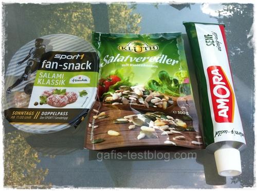 Amora würzig-mild Senf, Kluth Salatveredler und Sport1 Fan-Snack