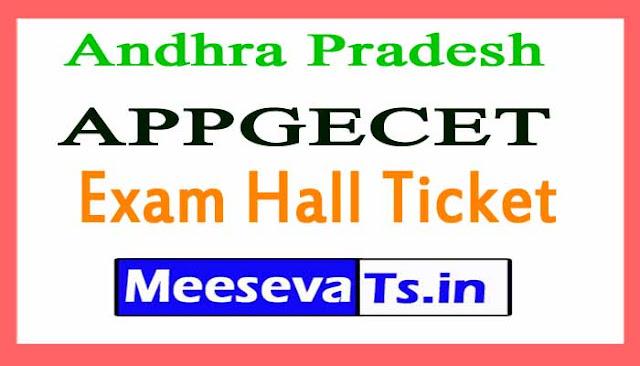 Andhra Pradesh APPGECET Exam Hall Ticket 2018