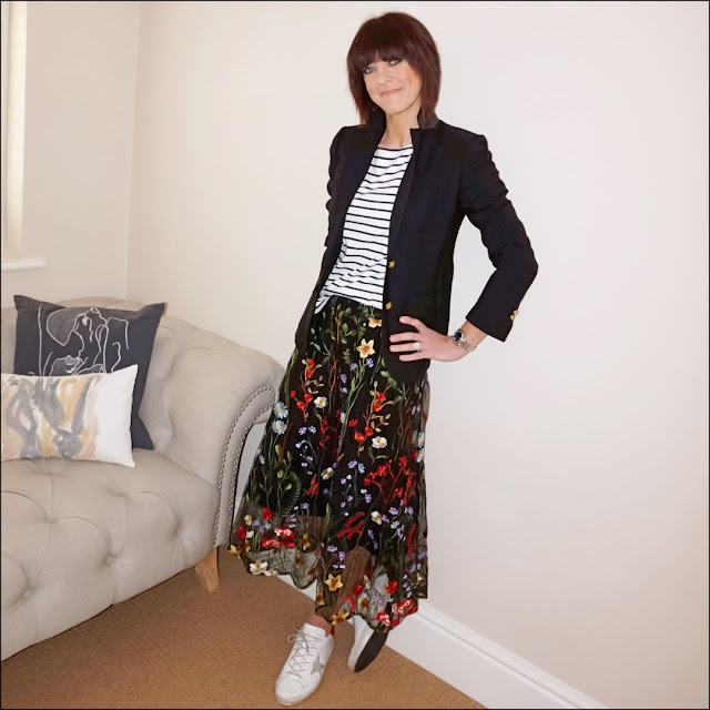 My Midlife Fashion, J Crew Rhodes blazer, hm long sleeve breton, marks and spencer embroidered a line skirt, golden goose superstar leather low top trainers