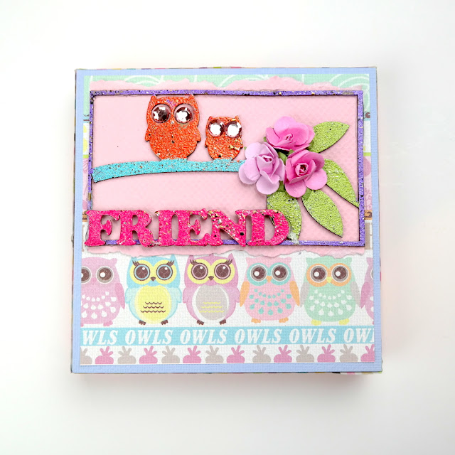 Owl Friends Altered Keepsake Gift Box by Dana Tatar for FabScraps - Whimsical Woodland Frinds Collection