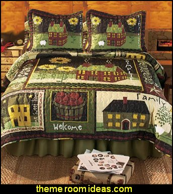 Country Charm Bed Quil primitive americana decorating style - folk art - heartland decor - rustic Americana home decor - Colonial & Country style decorating Americana bedroom designs - Primitive Country Rustic decor