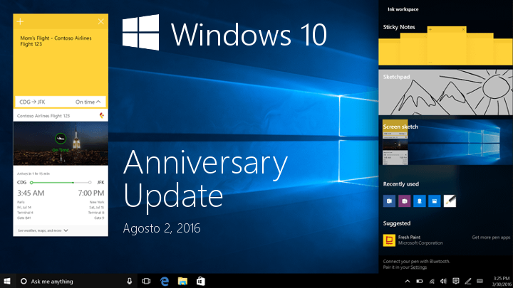 Windows 10 Anniversary Update estará disponible el 2 de agosto
