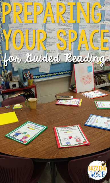 Do you have a space for guided reading, but you're not sure how to organize it or set up? This post gives you ideas about what materials and tools you'll need, how to organize your guided reading table space, and some tips to help you make the most of your time. Works great for upper elementary, too!