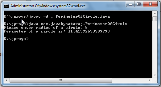 Output_PerimeterOfCircle