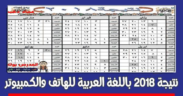 نتيجة 2018 باللغة العربية موبيل وكمبيوتر