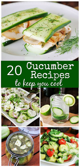 20 Cucumber Recipes to Keep You Cool ~ Check out this tasty collection of cool-as-a-cucumber inspiration! #cucumbers #cucumberrecipes   www.thekitchenismyplayground.com