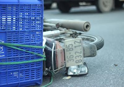Chiếc xe máy bị tai nạn