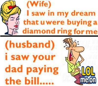 """funny cartoon picture shows Conversation vetween wife and husband from """"LOL me on"""""""