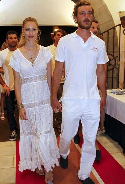 Pierre Casiraghi and Beatrice Borromeo at Palma Royal Nautical Club. Beatrice wore TopShop, Giambatista Valli lace dress