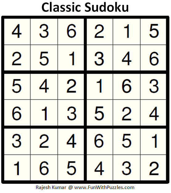 Classic Sudoku (Mini Sudoku Series #91) Solution