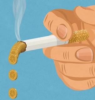 Un cigarrillo de dinero a medio consumir