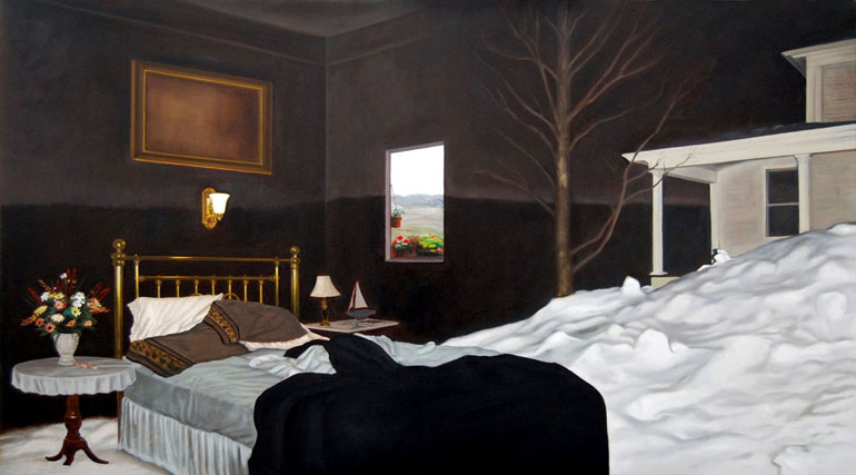 11-Snowed-In-Jennifer-Presant-Here-and-There-Surreal-Oil-Paintings-www-designstack-co