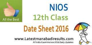 NIOS 12th Date Sheet 2016, NIOS Sr. Secondary Date Sheet 2016, NIOS Class XI Time Table 2016