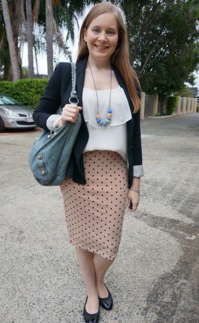 jersey blazer, white ruffle cami, pastel pink polka dot pencil skirt balenciaga day bag | away from blue