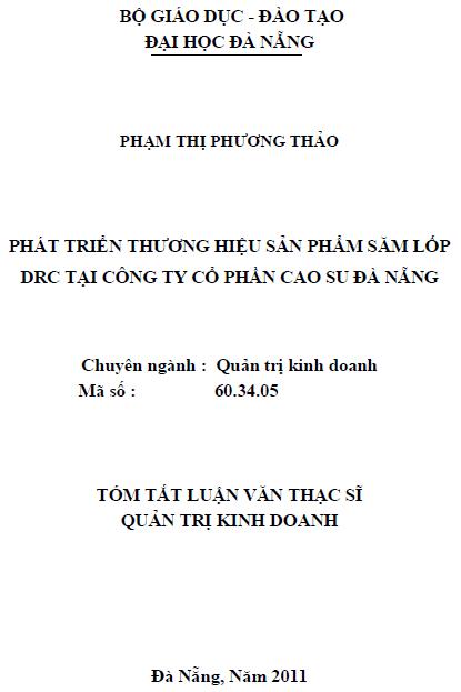 Phát triển thương hiệu sản phẩm săm lốp DRC tại công ty cổ phần cao su Đà Nẵng