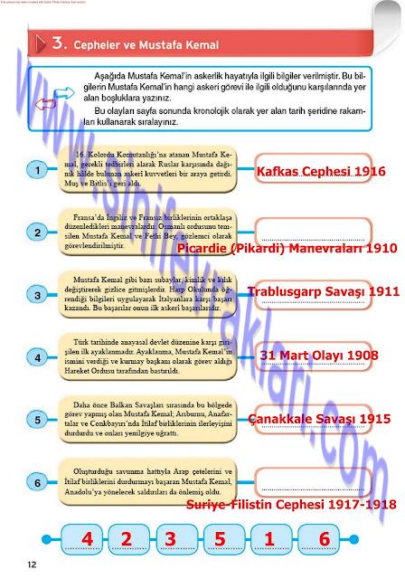 8. Sınıf İnkılap Tarihi Top Yayınları Çalışma Kitabı Cevapları Sayfa 12