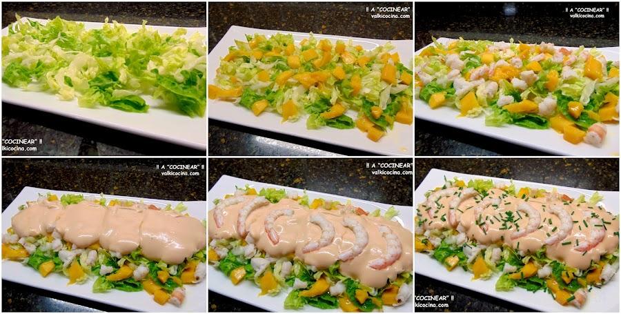 Ensalada de mango y gambas con salsa rosa