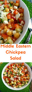 Middle Eastern Chickpea Salad: There is nothing better than a cold and crisp salad that uses fresh vegetables, and is laced with a heavenly lemon vinaigrette. - Slice of Southern