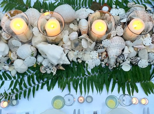 Seashell Candle Centerpiece Festive Holiday Beach Decor