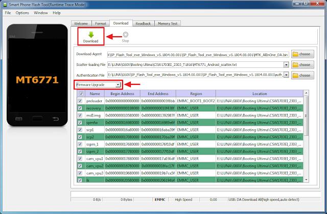 Pilih firmware upgrade dan klik download untuk memulai flash luna G60X