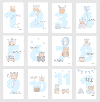 12 tarjetas para fotos de bebés -  12 meses -azul y gris