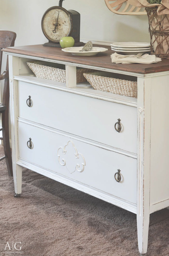 You must see the before and after of an antique dresser repurposed into a farmhouse style storage.  |  www.andersonandgrant.com