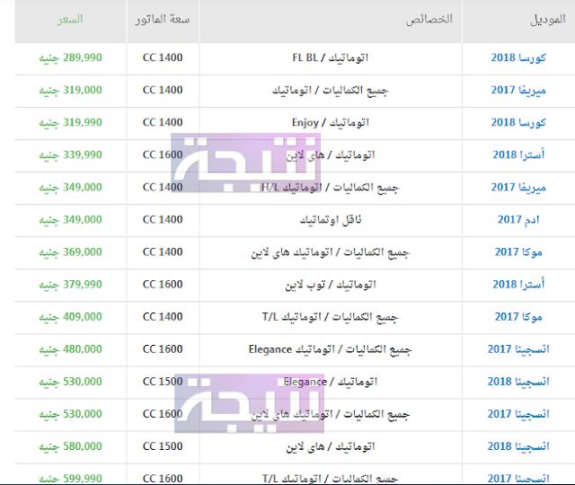 أسعار سيارات اوبل 2018 في مصر