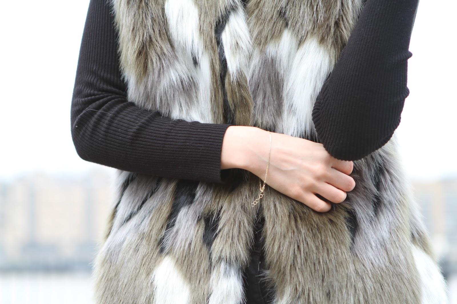 Debenhams faux fur khaki gilet
