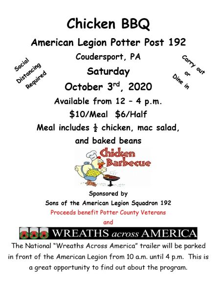10-3 Chicken BBQ At The Coudersport American Legion