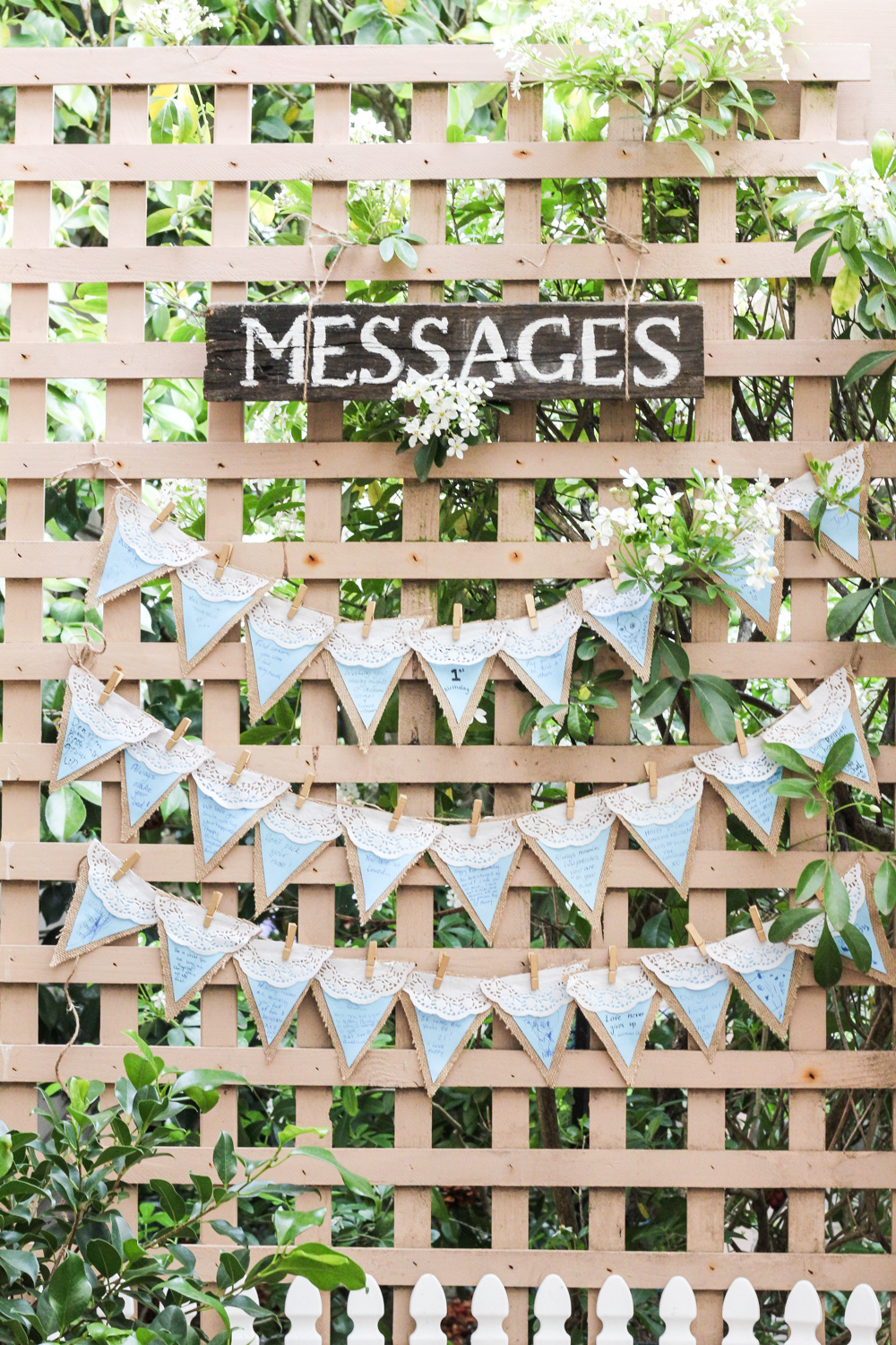 Messages on pretty bunting at Peter Rabbit birthday party