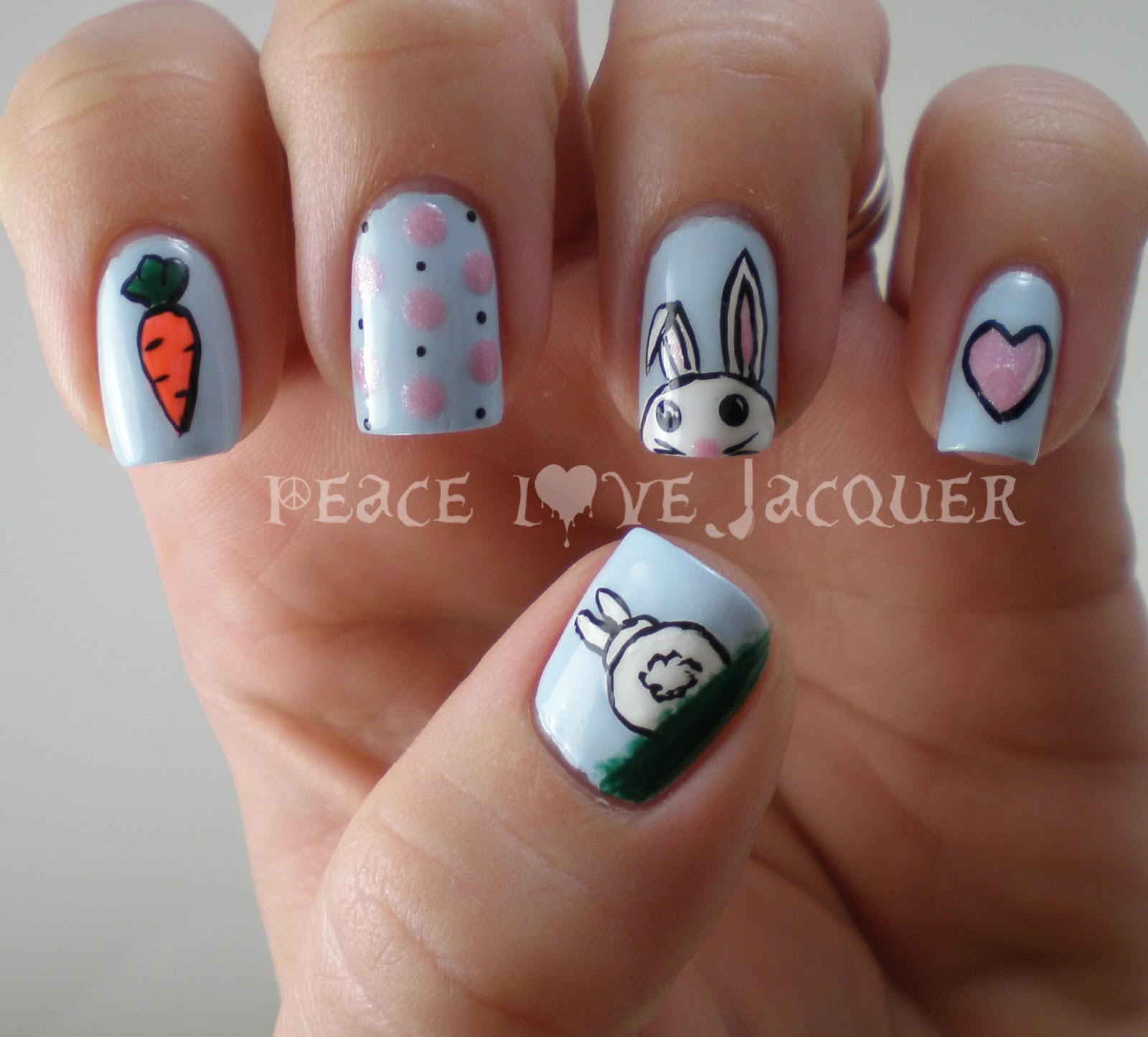 Easter Bunny Nails: Peace Love Lacquer: Easter Nail Art Challenge Day 2