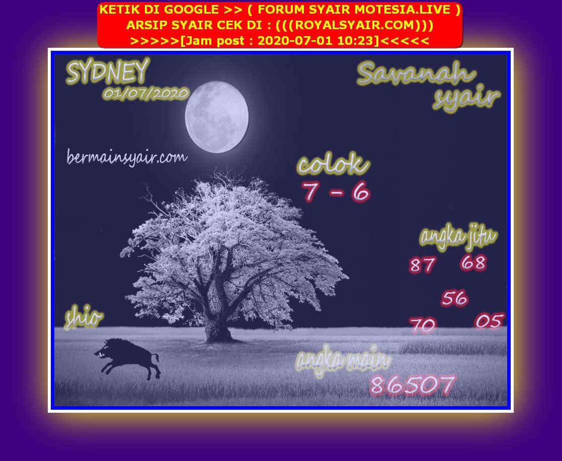 Kode syair Sydney Rabu 1 Juli 2020 85