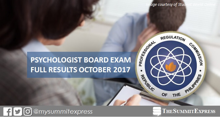 October 2017 Psychologist board exam passers list, top 10