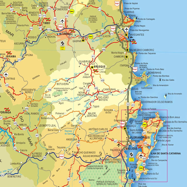 Mapa da região de Bombinhas - SC