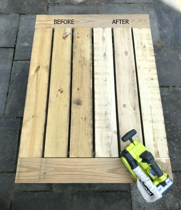 ryobi belt sander before and after