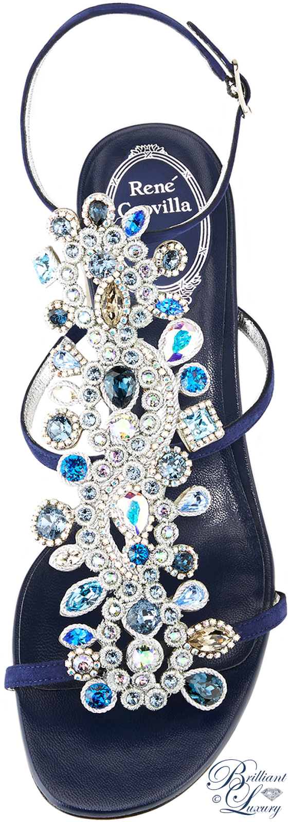 Brilliant Luxury ♦ Rene Caovilla Crystal Jeweled Block-Heel Sandal