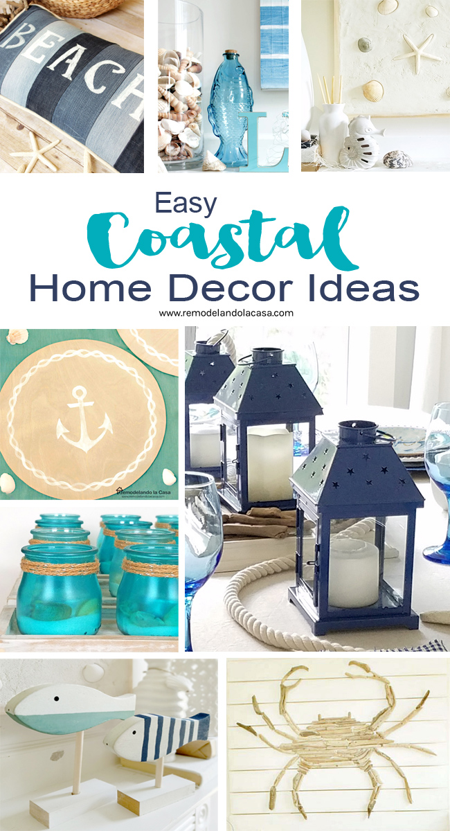 diy coastal decor with beach pillow, sea shells, lanterns, votives