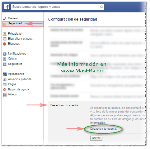 Cerrar Facebook temporalmente - MasFB
