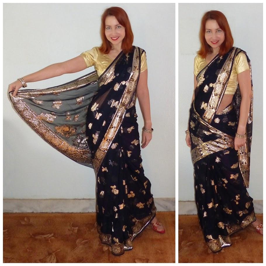 Party black sari