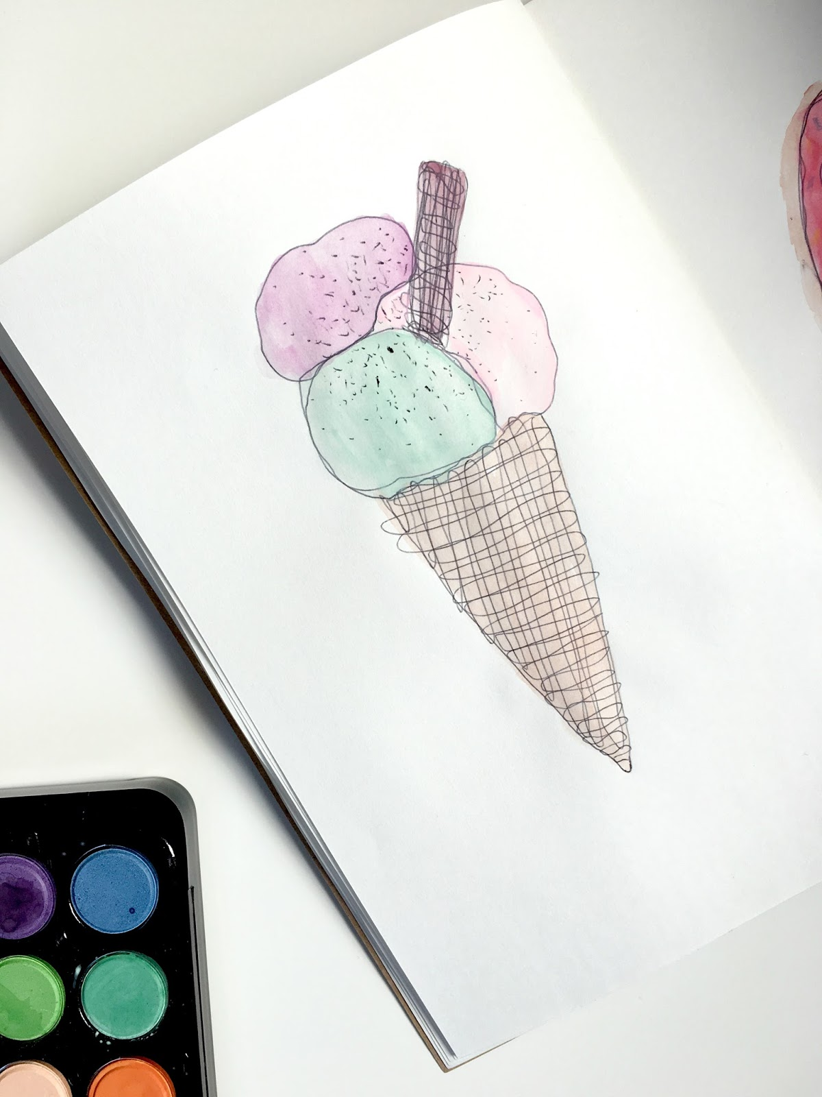 Sweet Allure I Decided To Start An Art Journal creative sketchs drawing watercolours painting doodles icecream cone icecreamcone fun hobby