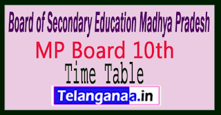 MP Board 10th Exam Time Table 2018
