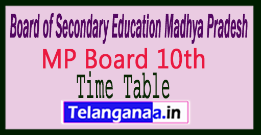 MP Board 10th Exam Time Table