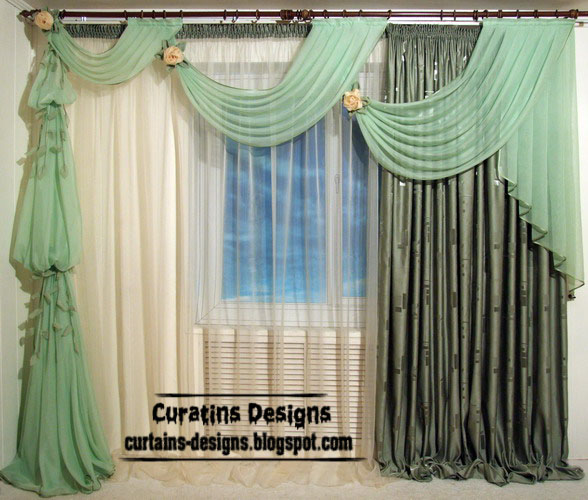 Unique curtain designs french curtain models in green for 3 window curtain design