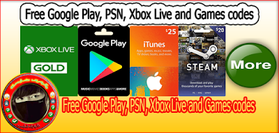 Free Google Play, PSN, Xbox Live and Games codes