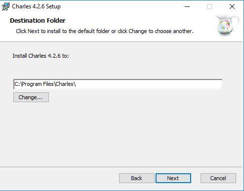اختيار مكان تثبيت برنامج تشارلز على الحاسوب